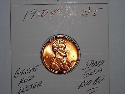 wheat penny 1950D GEM RED BU LINCOLN CENT 1950-D LOT #5 UNC SHARP RED LUSTER