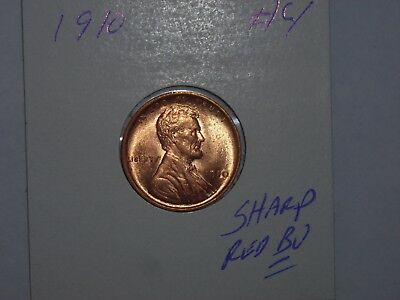 wheat penny 1910 LINCOLN CENT NICE RED UNC 1910-P LOT #4 SHARP RED BU