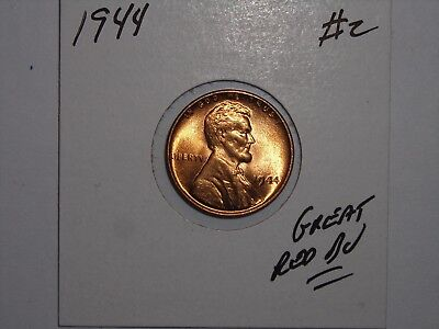 wheat penny 1944 SHARP GEM RED BU 1944-P LINCOLN CENT LOT #2 NICE UNC RED LUSTER