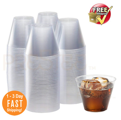 X200 ✅9oz Disposable Hard Plastic cups For Catering Serving Cocktail Wine Picn