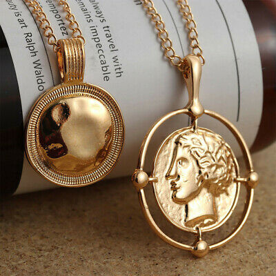 Women Coin Necklace Figure Medal Pendant Choker Double-layer Chain Jewelry Gift