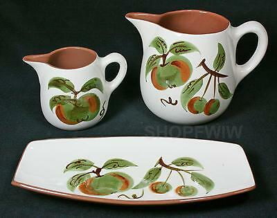 Vintage Stangl Orchard Song Creamer, Pitcher, and Pickle Relish Dish 1960s