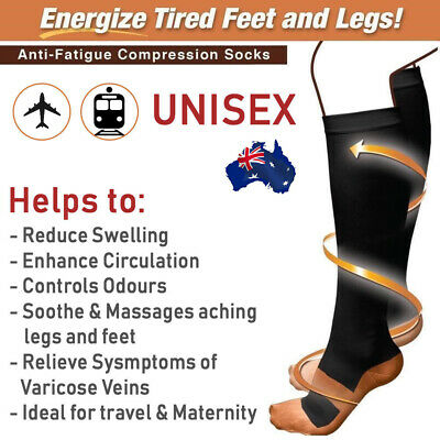 Unisex Copper Infused Anti-Fatigue Compression Socks Varicose Vein Foot Stocking