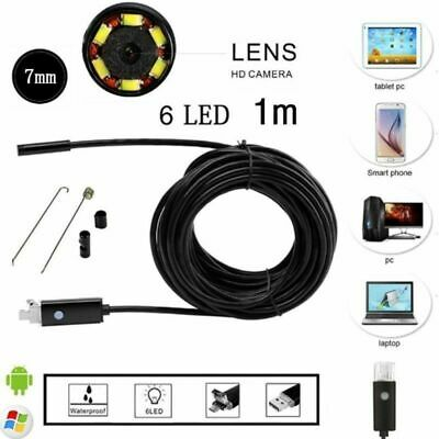 USB Endoscope Waterproof 7mm 6 LED 1M Length Camera Inspection for Android PC