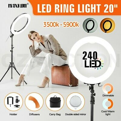 """20"""" 5900K Dimmable Diva LED Ring Light Diffuser Stand Mirror Stand Makeup Studio"""