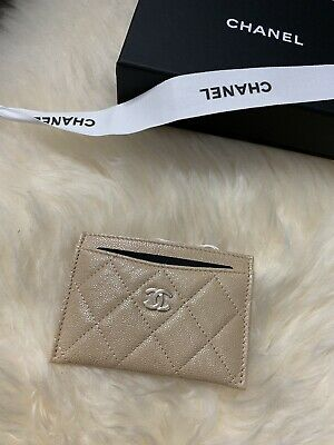 46749f9e CHANEL 19S IRIDESCENT Beige Caviar Flat Card Holder 2019 Pearly CC 17B Rose  Gold