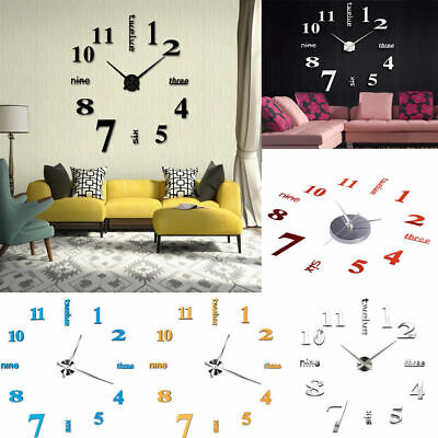 3D Wall Clock Watch Large Modern Simple Home DIY Sticker Decal Roman Numeral HOT