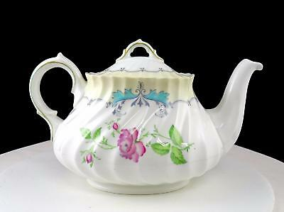 """Royal Doulton The Picardy  Pink Floral Centers Turquoise Scroll Rim 6"""" Teapot"""