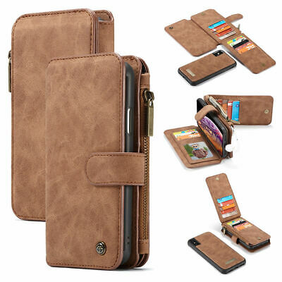For iPhone 6 7 8 Plus X XR XS Max Leather Purse Wallet Case Magnetic Removable