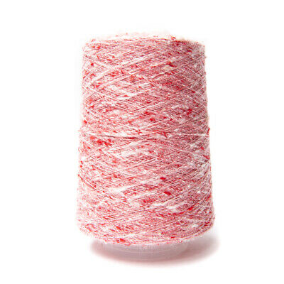 200G 1/15Nm Jaspe Tussah Silk Yarn Light Red / White 53719