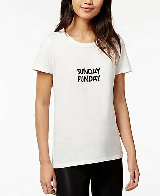 f12830c77 Bow & Drape Women's Jr Sunday Funday Sequined Graphic T-Shirt White Small