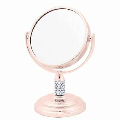Mini Rose Gold Diamante Pedestal Mirror Magnifying Make-Up Vanity Travel Gift
