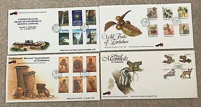 Zimbabwe 4 First Day Covers from 1991