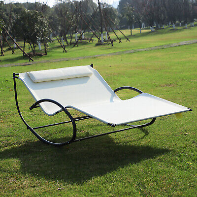Garden Double Rocker Lounger Hammock W/ Pillow Sun Bed Patio Swing Chair Metal