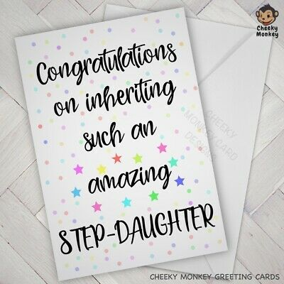Funny Birthday Card Mother Day Fathers Step Dad Mum Daughter