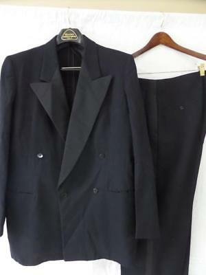 vtg 1940s 1950s Black TUXEDO Double Breasted 2pc Suit 44L 38x34 Gangster