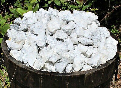 1/2 lb Bulk Lot Natural Rough White Howlite (Crystal Stones Raw Tumbling 8 oz)