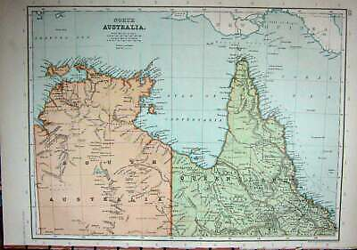 Old Antique Print C1910 Map North Australia Queensland Palmerston Groote 20th