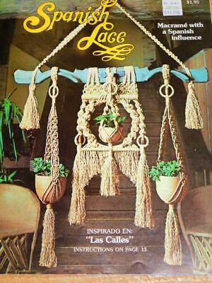 Vintage 1976 SPANISH LACE MACRAME Instruction Patterns Book Plant Hangers Wall