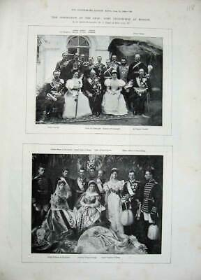 Original Old Antique Print 1896 Coronation Czar Moscow Prince Connaught Hesse