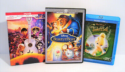 Beauty and the Beast COCO + Storybook Tinker Bell Blu-ray/DVD Disney 3 MOVIES!