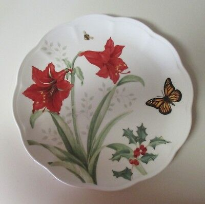 Lenox Butterfly Meadow Holiday Amaryllis 4 Dinner Plates MONARCH Butterfly NWT