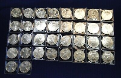 Complete Set Of 34 American Silver Eagles ~ 1986 Thru 2019