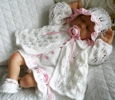 """Knitting Pattern Matinee Coat Shorts Bonnet Shoes 20""""- 22"""" Doll 0-3 Month Baby"""