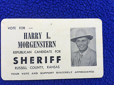 vintage ELECTION CARD republican candidate SHERIFF russell county KANSAS vote