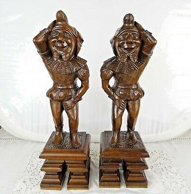 """16"""" French Antique Pair Walnut Wood Figures/Support Posts Pillars Architectural"""