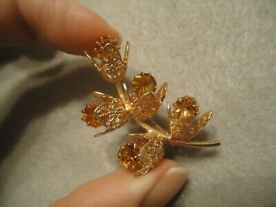 Vintage Filigree Lace Petal Golden Amber Yellow Rhinestone Flower Brooch Pin