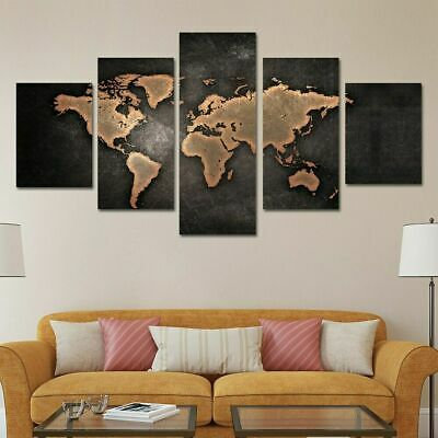 Retro Vintage World Map 5 Pcs Canvas Wall Art Painting Poster Home Decor