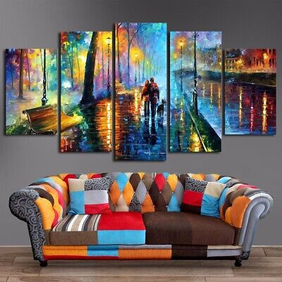 Abstract Romantic Couple 5 Pcs Canvas Wall Art Painting Poster Home Decor