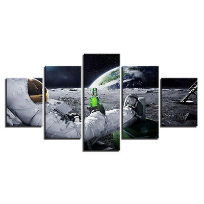 Astronaut in Planet Surface 5 Pcs Canvas Wall Art Painting Poster Home Decor