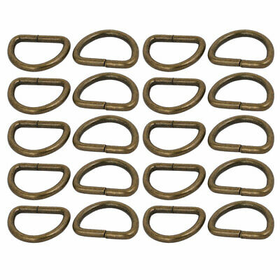 20mm Inner Width Metal Half Round Shaped Non Welded D Ring Bronze Tone 20pcs