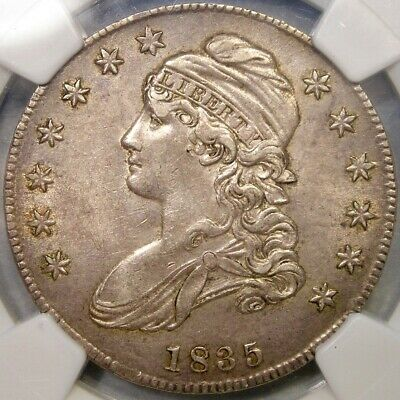 1835 Capped Bust Lettered Edge Silver Half Dollar Desirable Specimen *Ngc Au 55*