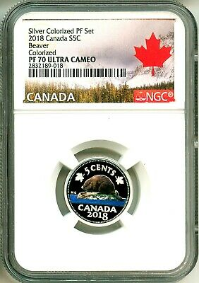 2018 Canada S5c Silver Colororized Proof Beaver NGC PF70 Ultra Cameo