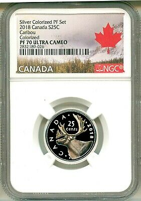 2018 Canada S25c Silvered Colororized Proof Caribou NGC PF70 Ultra Cameo