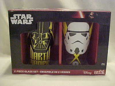 Star Wars 2 16 0z Glass Set Disney ZAK DARTH VADER & IMPERIAL STORM TROPPER