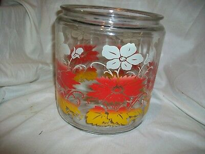 Vintage Anchor Hocking Glass Cookie Jar Canister Red Yellow White Flowers No Lid