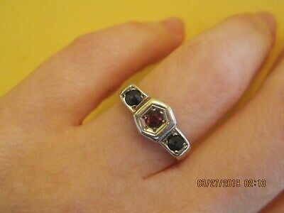Classic Art Deco 14K Gold Ruby and Sapphire Ring!!