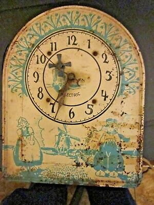 Vintage Animated Tin Electric Windmill Wall Clock w/Dutch Boy & Girl