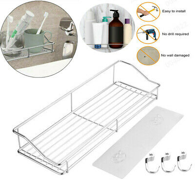 Stainless Steel Storage Rack Kitchen Bathroom Shelf Storage Wall Shelf Organizer