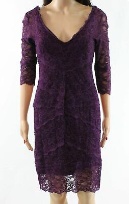 6cec188934 Nicole Miller Purple Women s Size 10 V-Neck Floral Lace Sheath Dress  465-