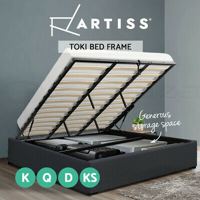 Artiss Gas Lift King Single Double Queen Size Bed Frame Base With Storage TOKI
