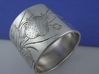 Antique Sterling Silver NAPKIN RING w/ engraved strawberries & leaves