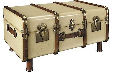 Antiqued Train Travel Wood Flat Top Stateroom Steamer Trunk Chest Coffee Table