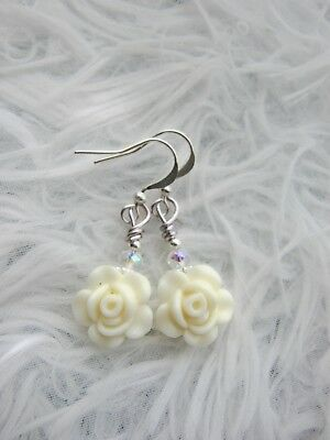ROSE Earrings Small resin ROSES Dangle CREAM Silver plated FLOWERS Crystals