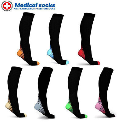 Compression Socks Anti Fatigue Calf Sleeves Flight Travel Graduated Knee High A9