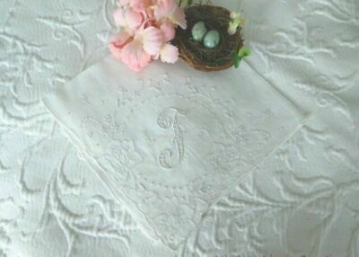 AnTiQuE Bridal MADEIRA Monogram F Embroidered & APpliqued VINTAGE WEDDING HANKY
